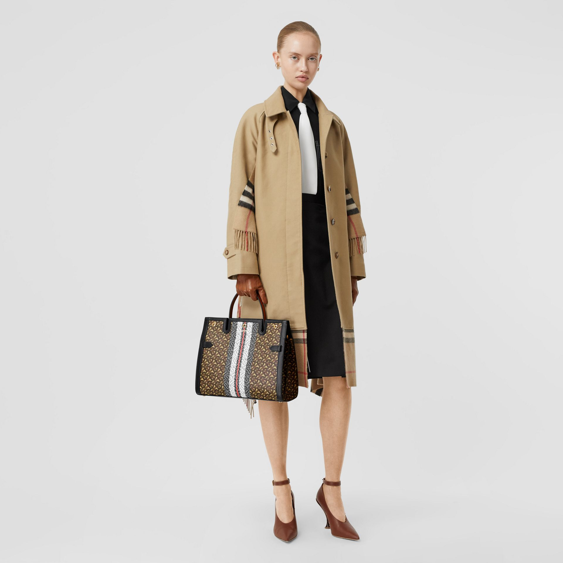 Medium Monogram Stripe E-canvas Title Bag in Bridle Brown - Women | Burberry - gallery image 5