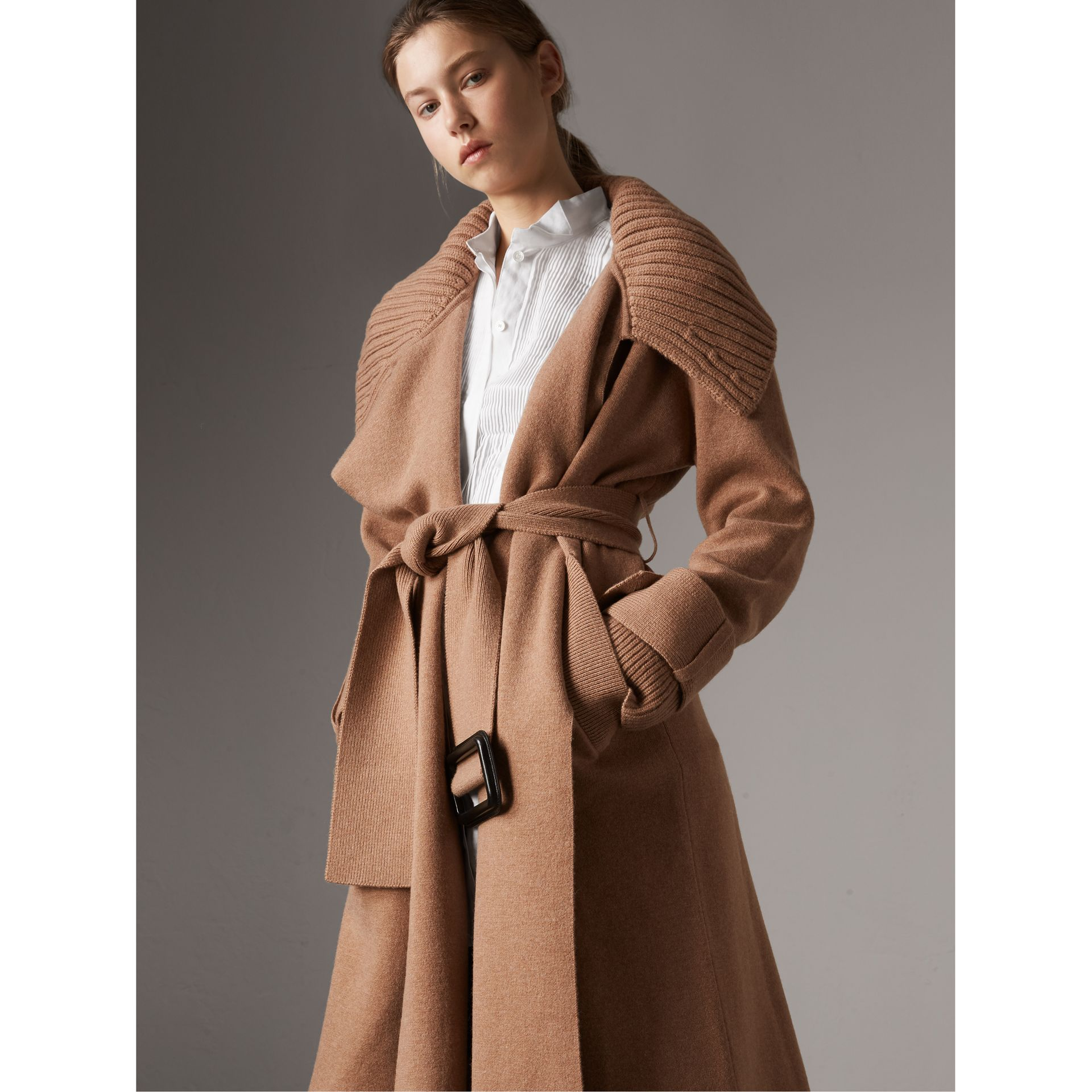 Knitted Wool Cashmere Wrap Coat in Camel - Women | Burberry Singapore - gallery image 0