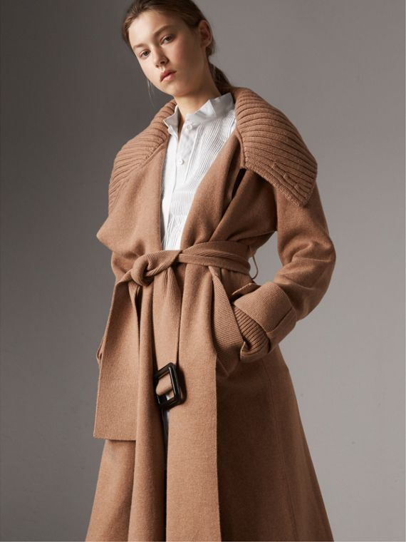 Knitted Wool Cashmere Wrap Coat in Camel
