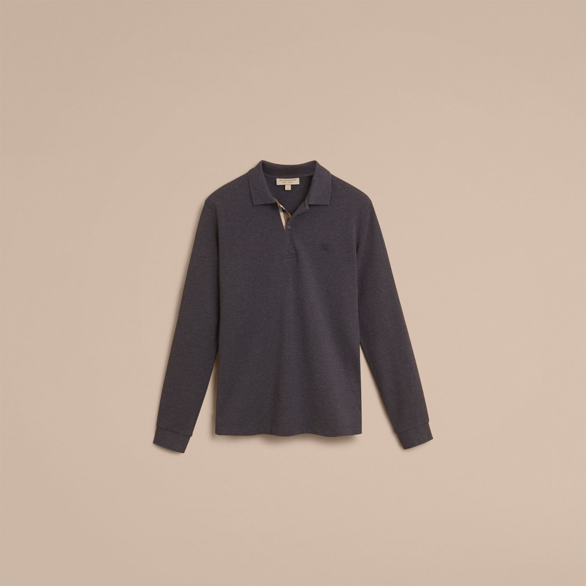 Check Placket Long Sleeve Polo Shirt in Dark Charcoal Melange - Men | Burberry - gallery image 4