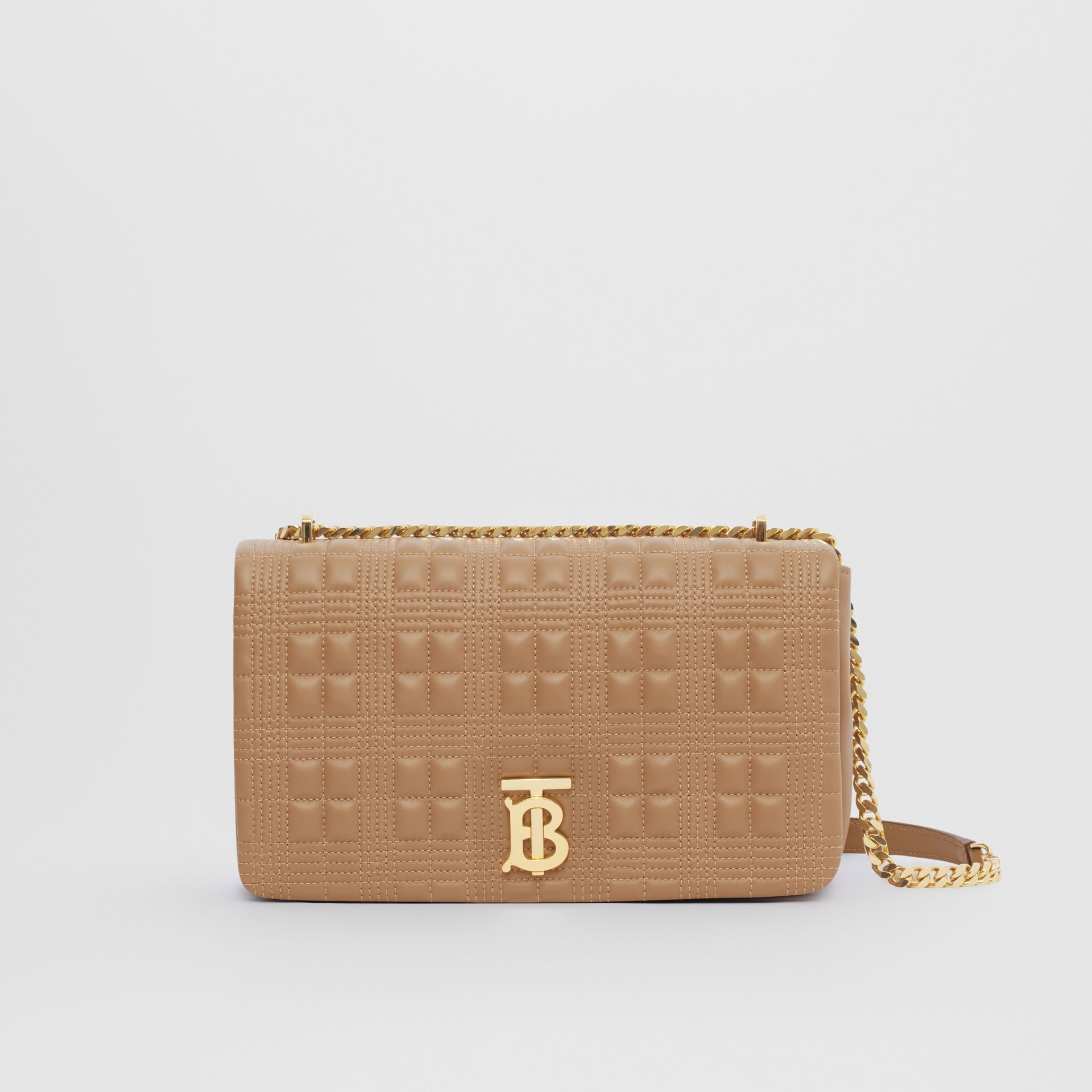 Medium Quilted Check Lambskin Lola Bag in Camel - Women | Burberry - gallery image 0