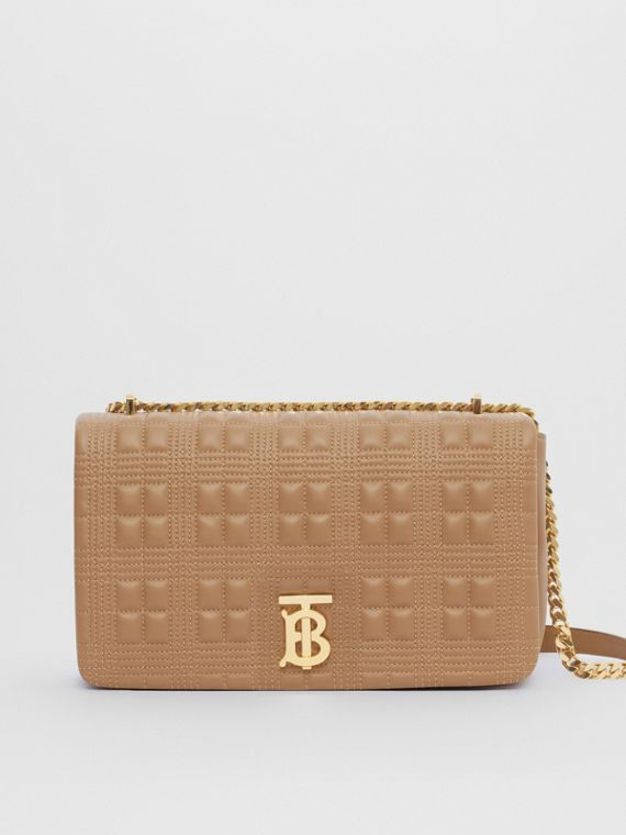 Medium Quilted Check Lambskin Lola Bag in Camel