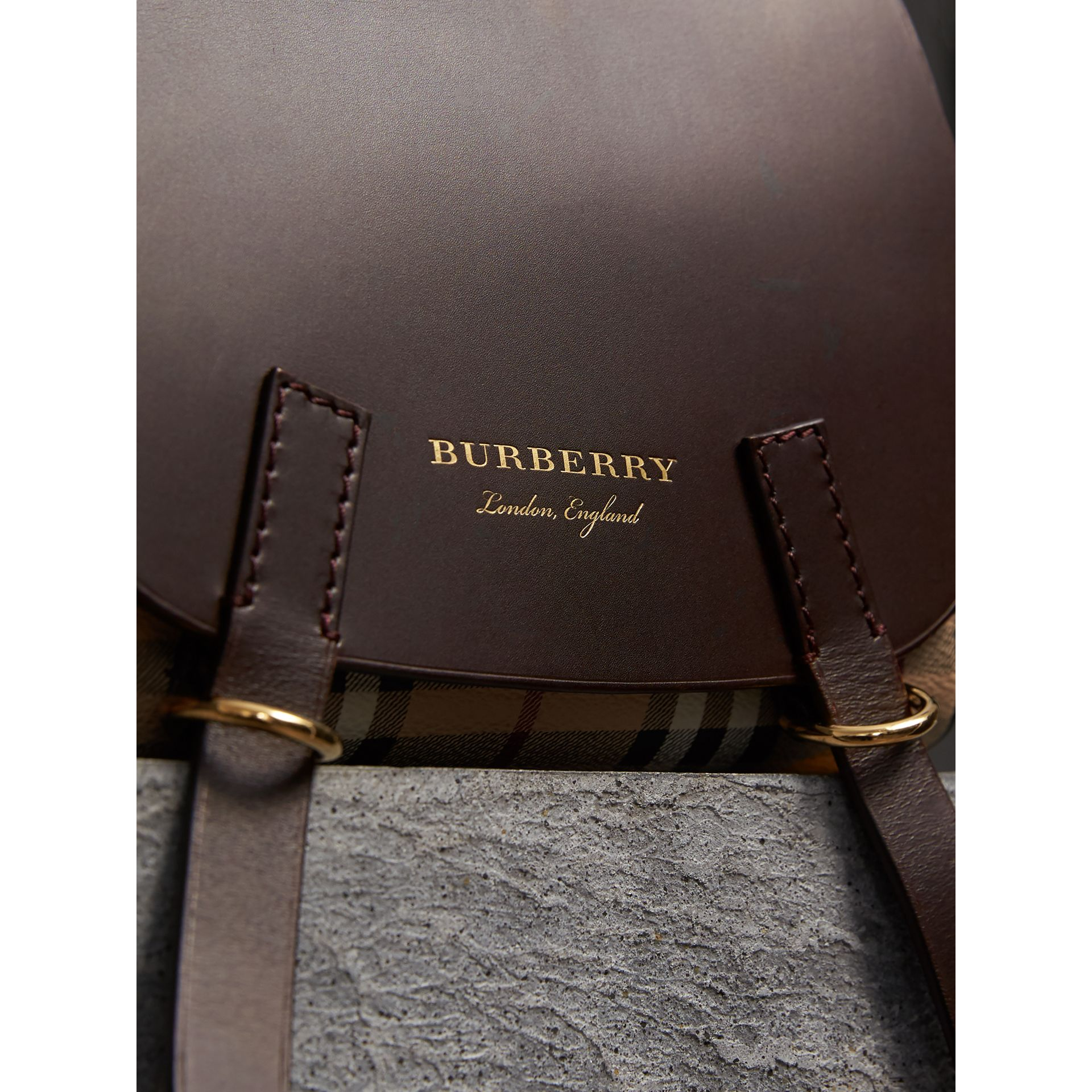 The Bridle Crossbody Bag in Haymarket Check in Dark Clove Brown - Women | Burberry United Kingdom - gallery image 2