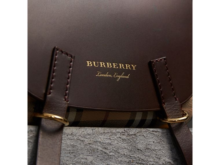 The Bridle Crossbody Bag in Haymarket Check in Dark Clove Brown - Women | Burberry United Kingdom - cell image 1