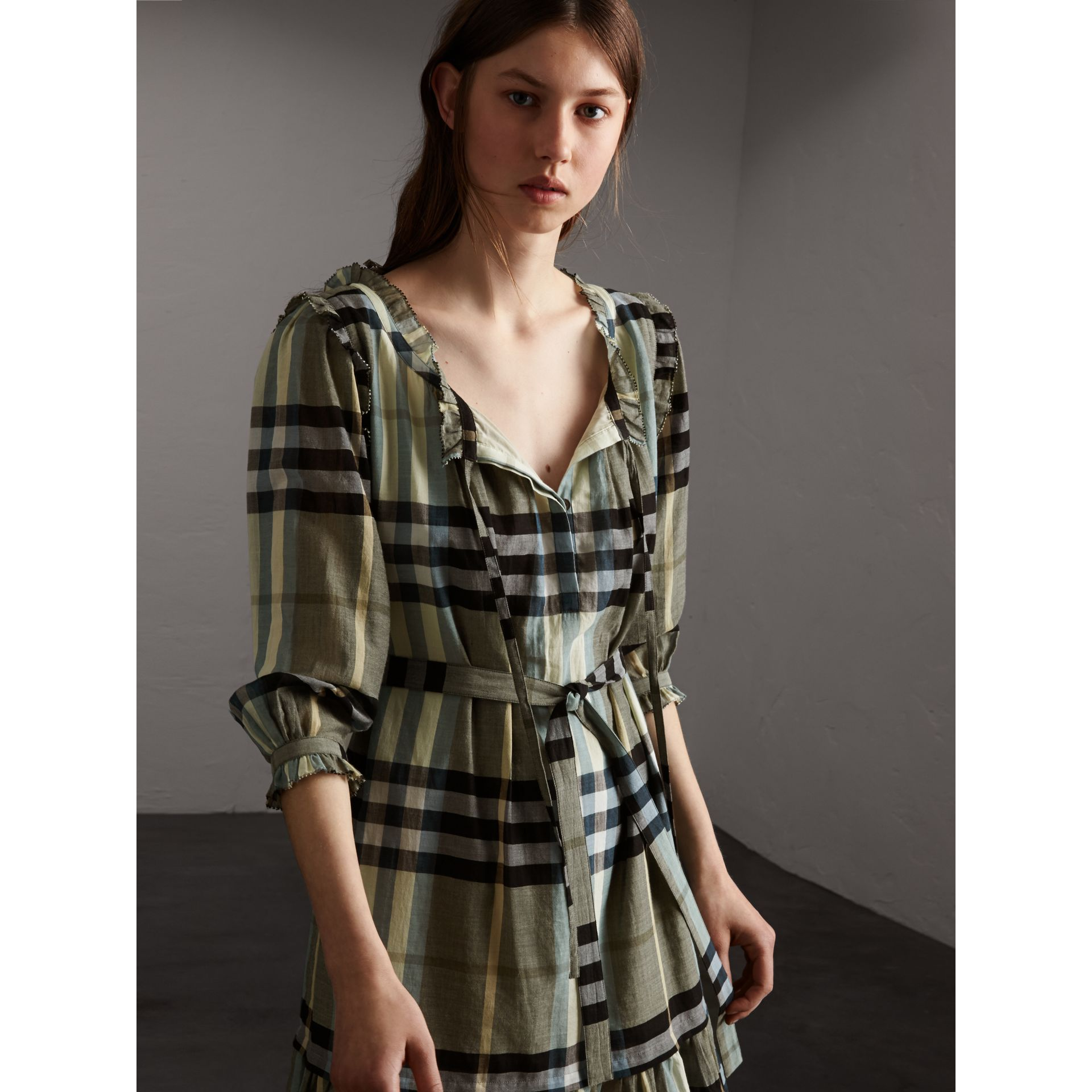 Ruffle Detail Check Cotton Dress - Women | Burberry - gallery image 6