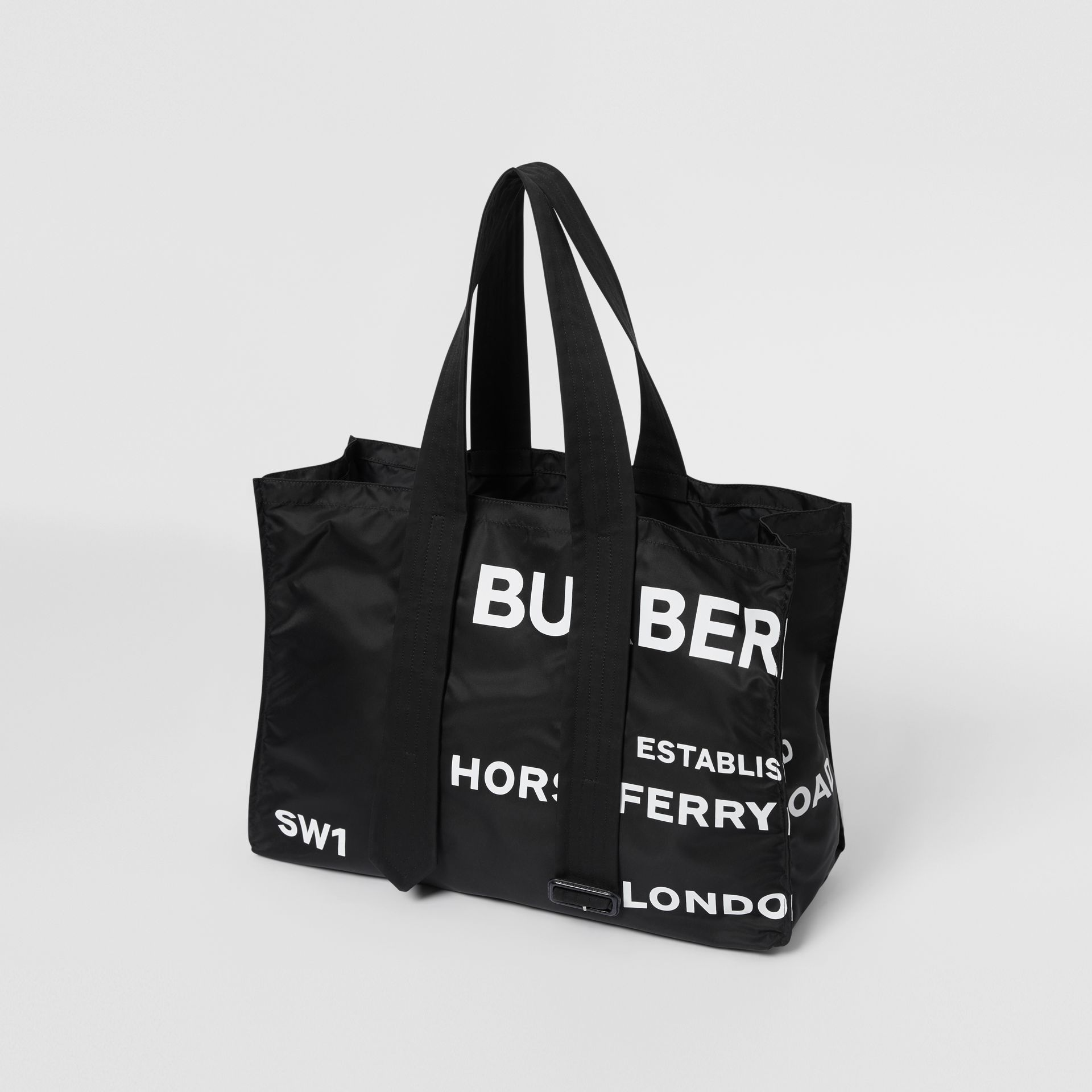 Belt Detail Horseferry Print Nylon Tote in Black/white - Men | Burberry Australia - gallery image 3