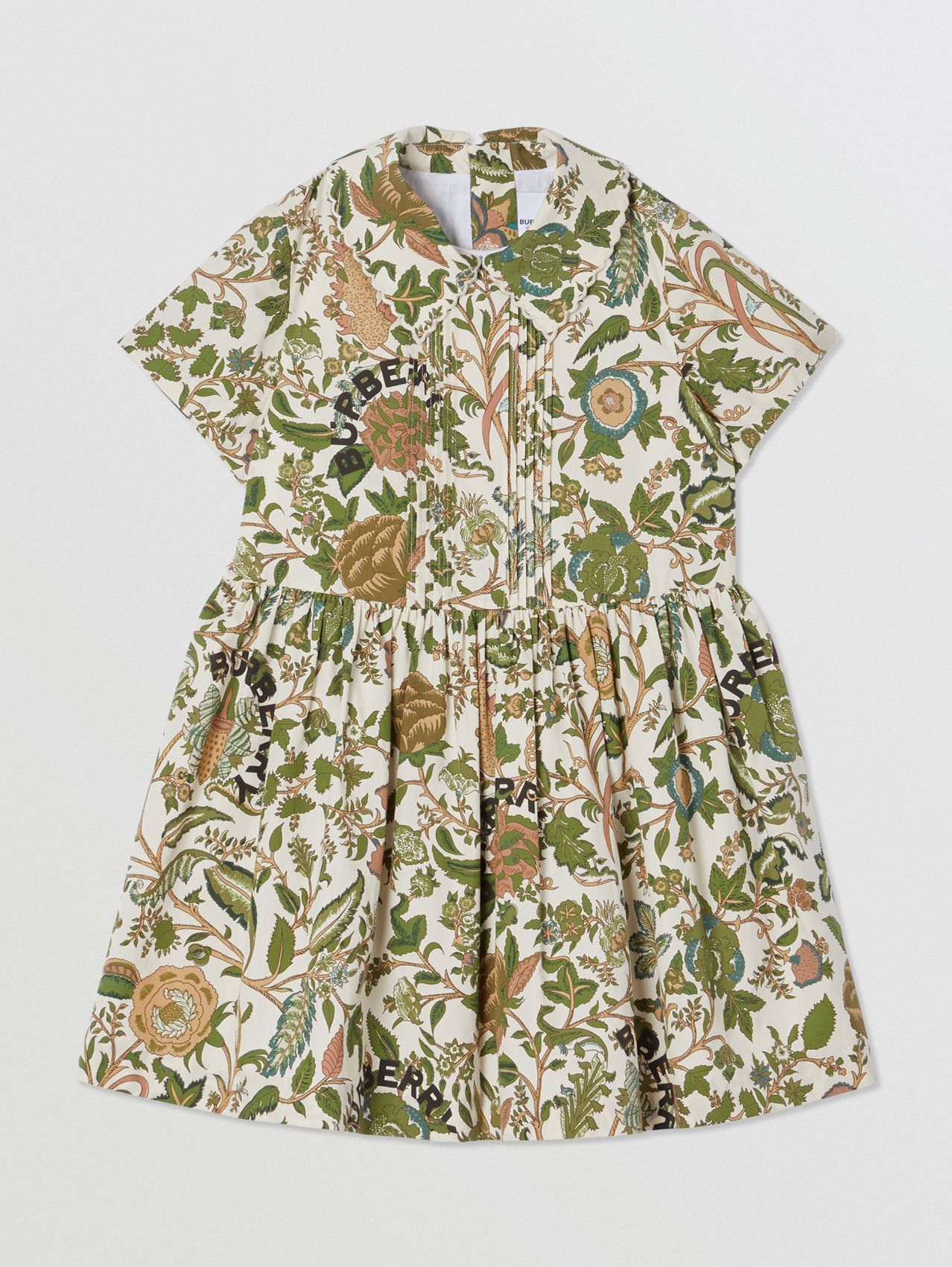 Botanical Print Cotton Dress in Olive