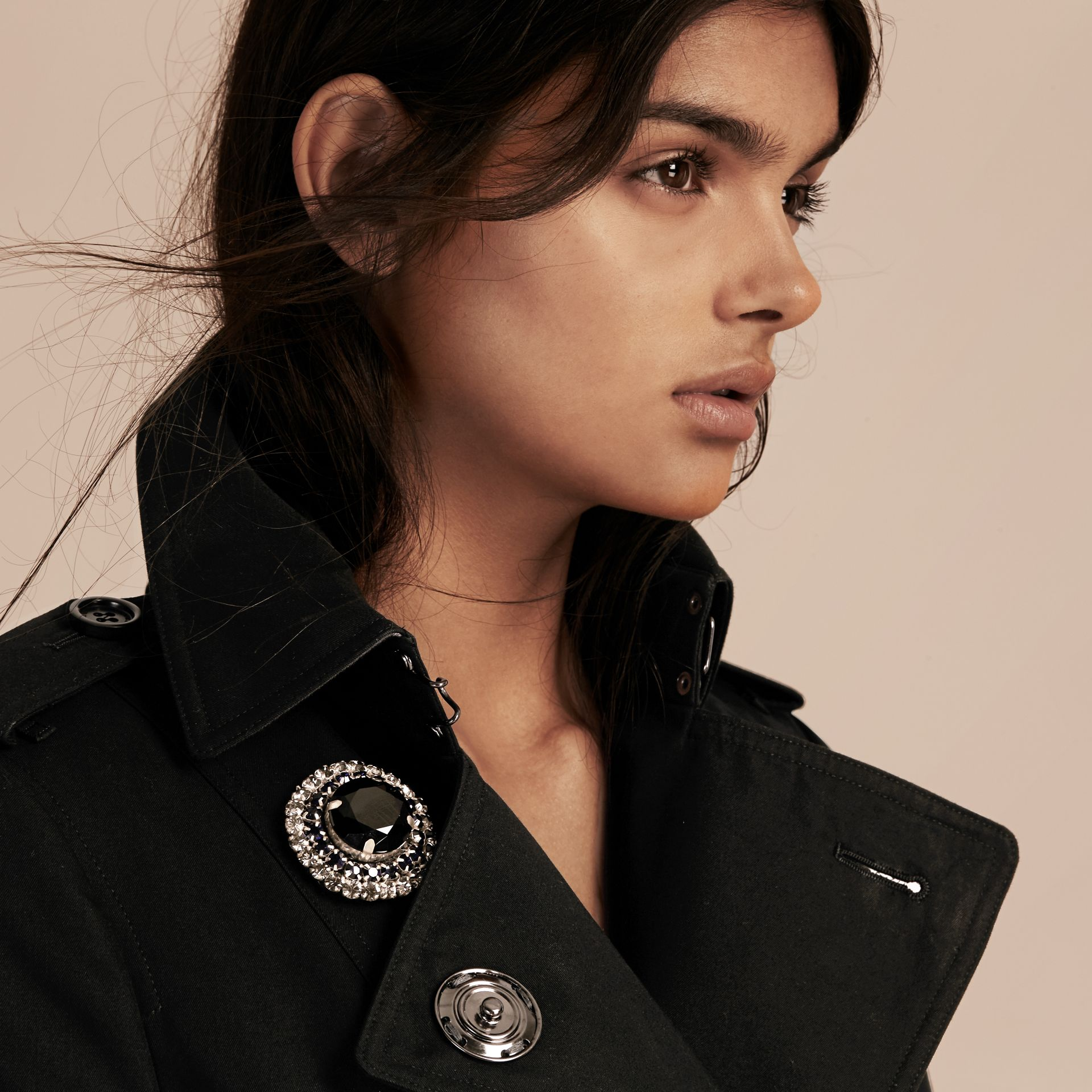 Black Cotton Gabardine Trench Coat with Embellished Fastening - gallery image 5