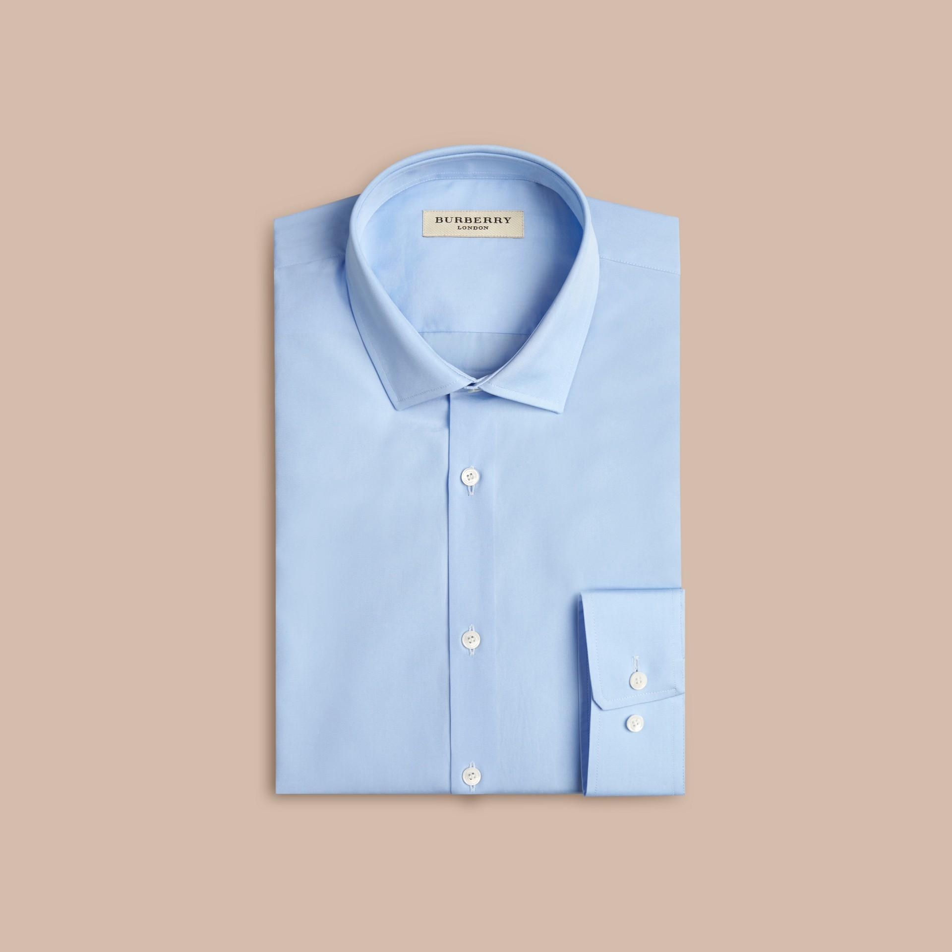 City blue Modern Fit Cotton Poplin Shirt City Blue - gallery image 1