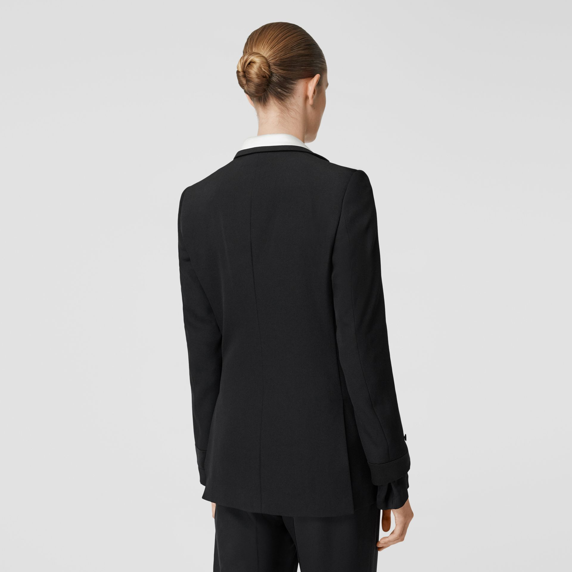 Silk Panel Wool Tailored Jacket in Black - Women | Burberry - gallery image 2