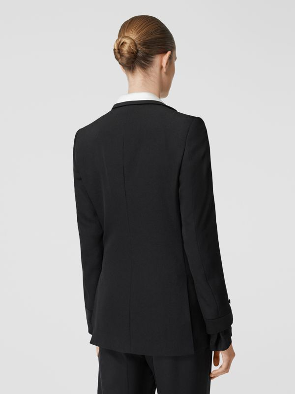Silk Panel Wool Tailored Jacket in Black - Women | Burberry - cell image 2