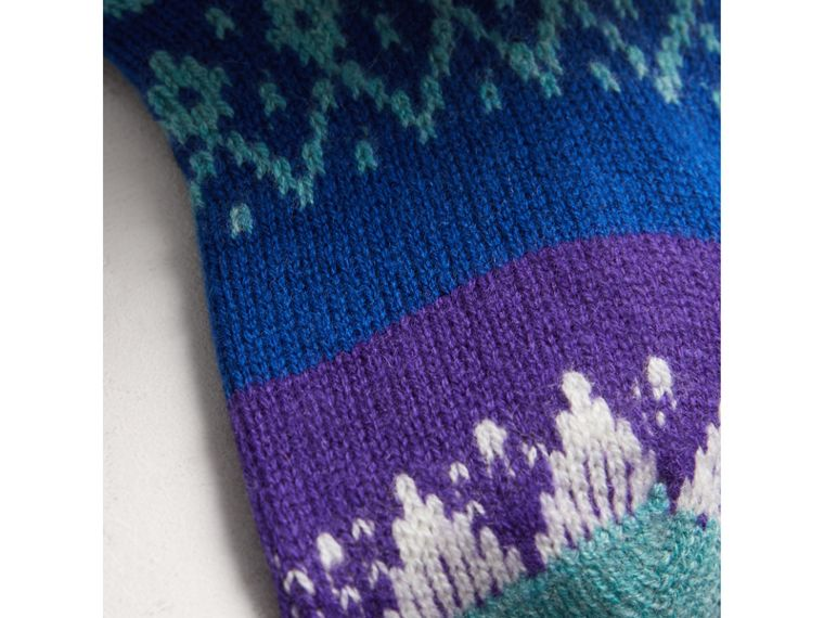Fair Isle Cashmere Wool Patchwork Socks in Bright Blue | Burberry - cell image 1