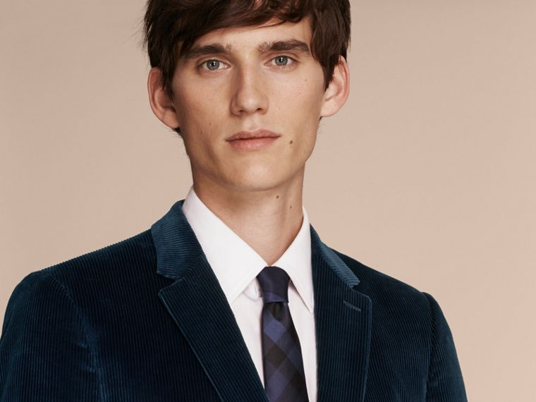 Navy Slim Fit Cotton Corduroy Jacket - cell image 4