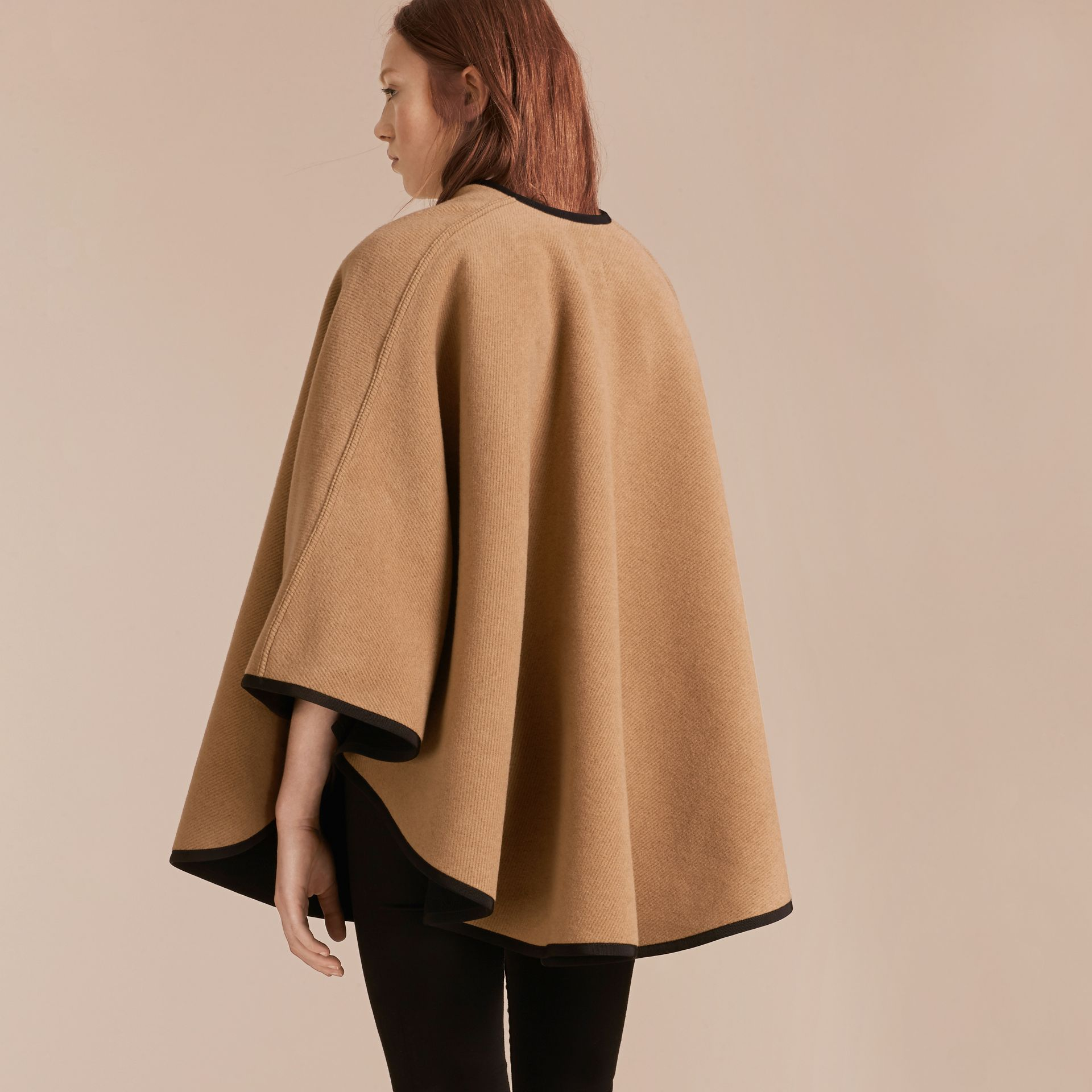 Camel/black Wool Cashmere Military Cape Camel/black - gallery image 3