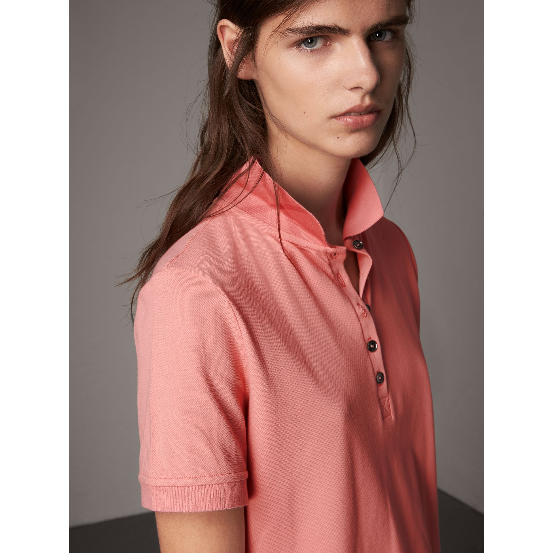 Check Trim Stretch Cotton Piqué Polo Shirt in Carnation Pink - Women | Burberry Canada - gallery image 5