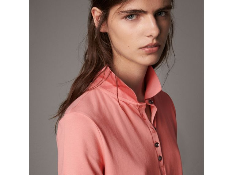 Check Trim Stretch Cotton Piqué Polo Shirt in Carnation Pink - Women | Burberry Australia - cell image 4