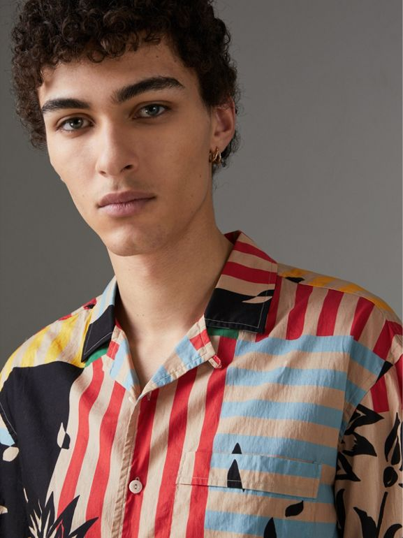 Short-sleeve Floral Stripe Print Cotton Shirt in Steel Blue - Men | Burberry Singapore - cell image 1