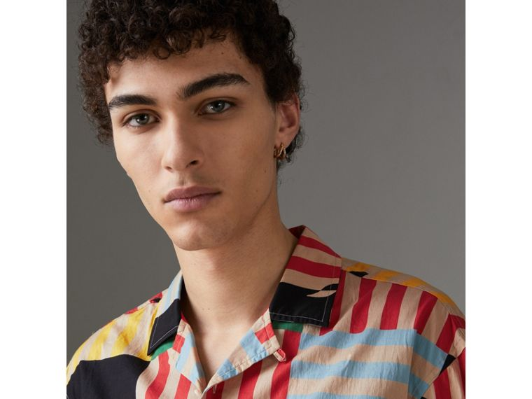 Short-sleeve Floral Stripe Print Cotton Shirt in Steel Blue - Men | Burberry United States - cell image 1