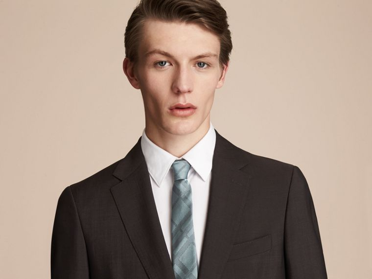 Slim Cut Check Silk Tie in Sea Green - Men | Burberry - cell image 2