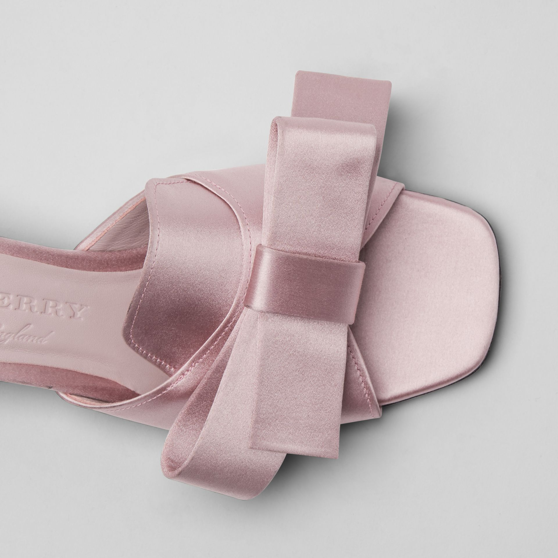 Bow Detail Satin Block-heel Mules in Light Pink Melange - Women | Burberry - gallery image 1