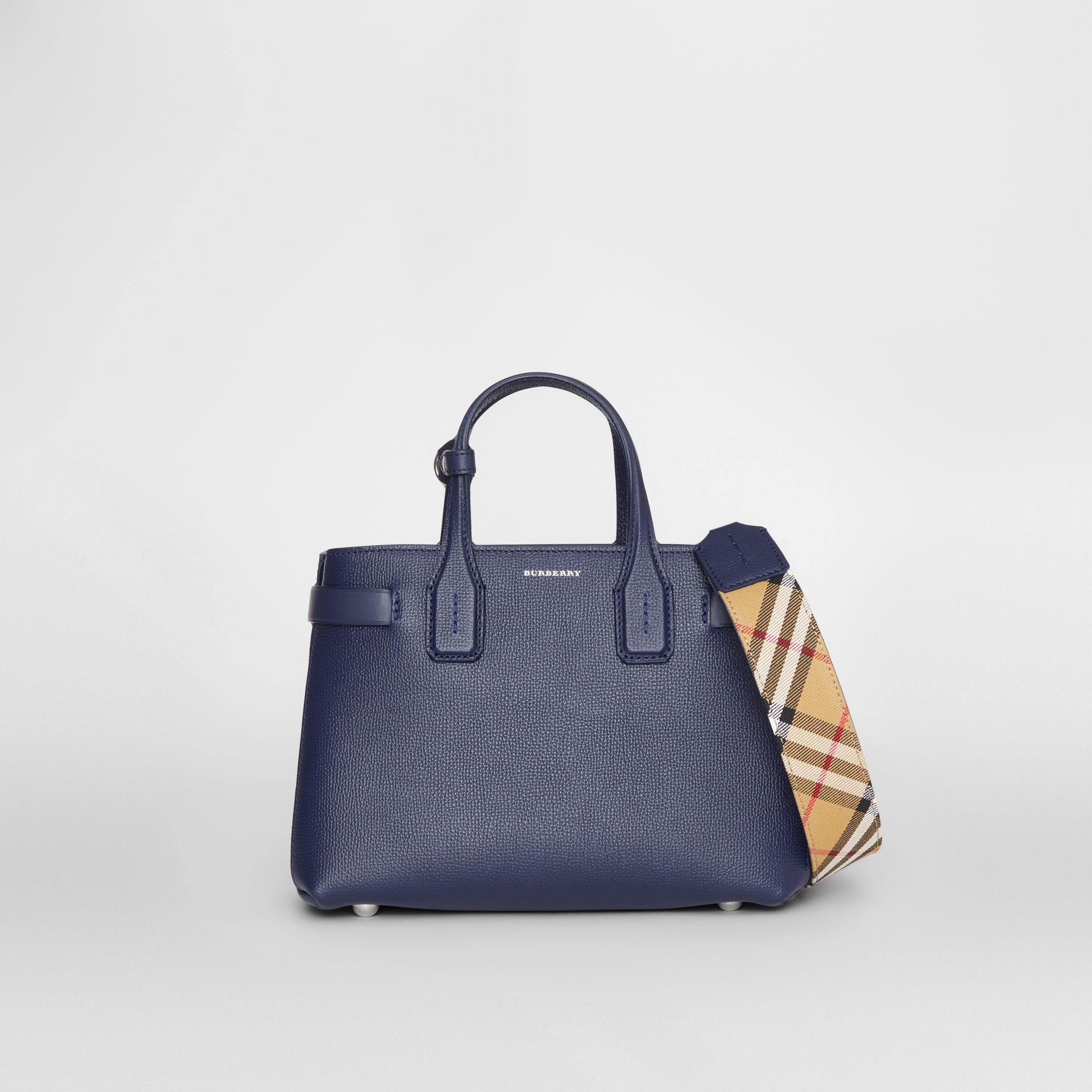 The Small Banner in Leather and Vintage Check in Regency Blue - Women | Burberry Canada - gallery image 0