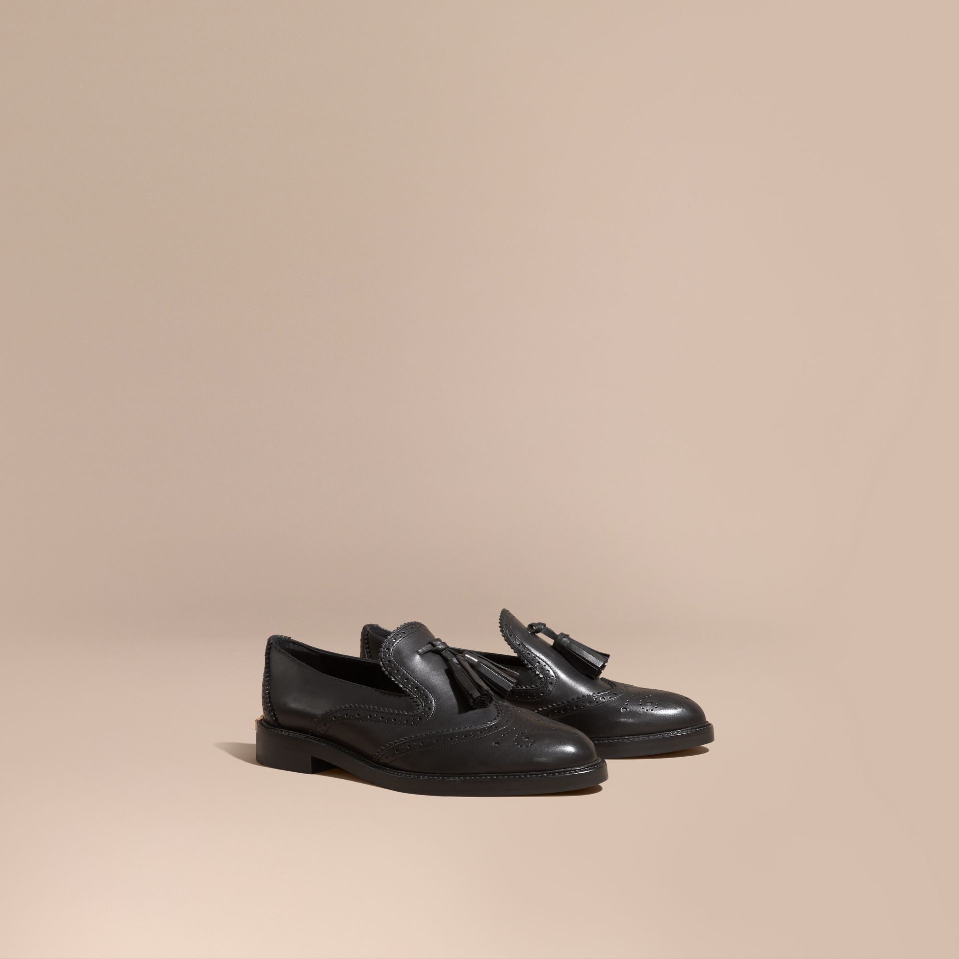 Black Leather Tassel Loafers Black - gallery image 1