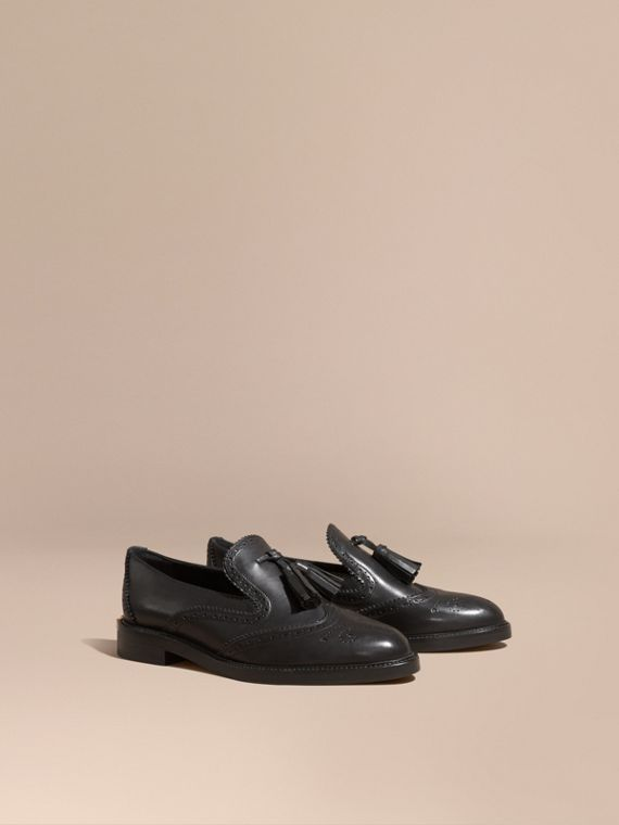 Leather Tassel Loafers Black
