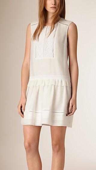 Lace Bib Cotton Silk Sleeveless Dress