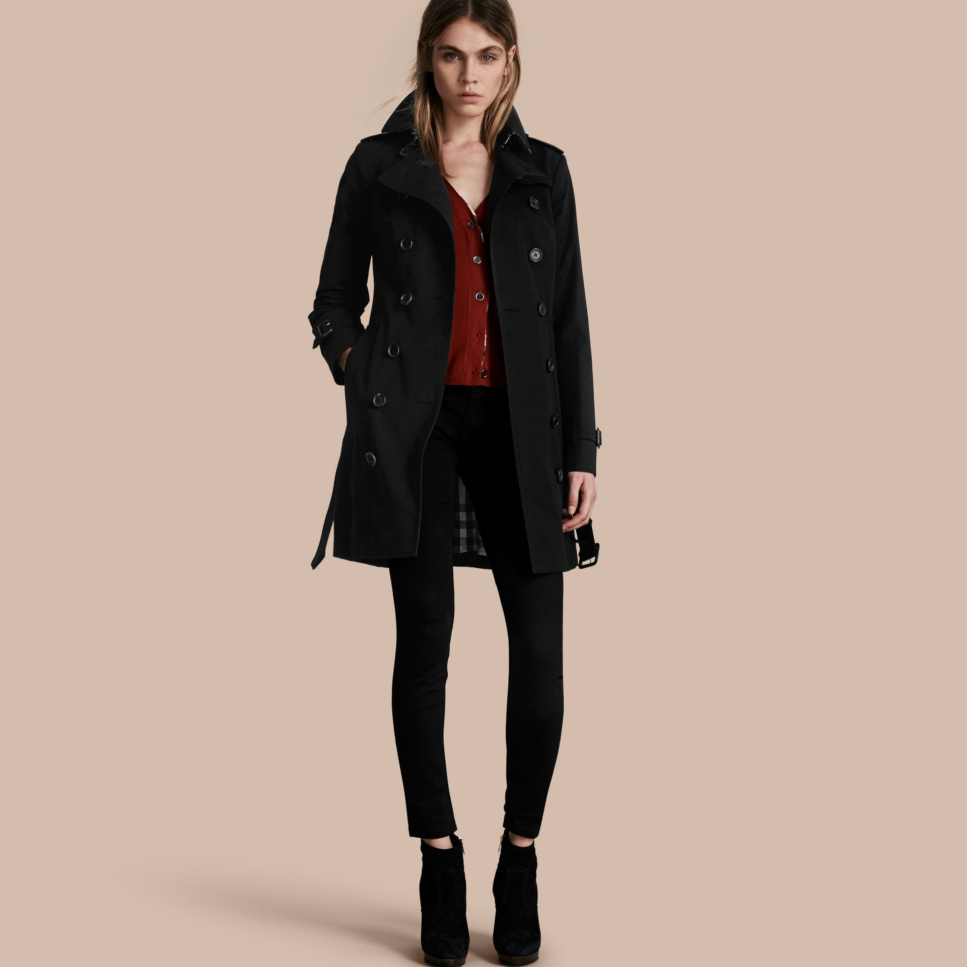 Black The Sandringham – Mid-Length Heritage Trench Coat Black - gallery image 1