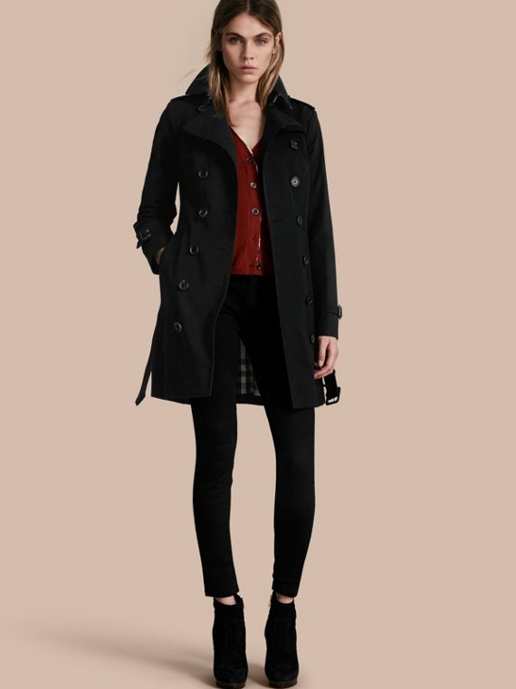 Trench coat Sandringham - Trench coat Heritage de longitud media Negro