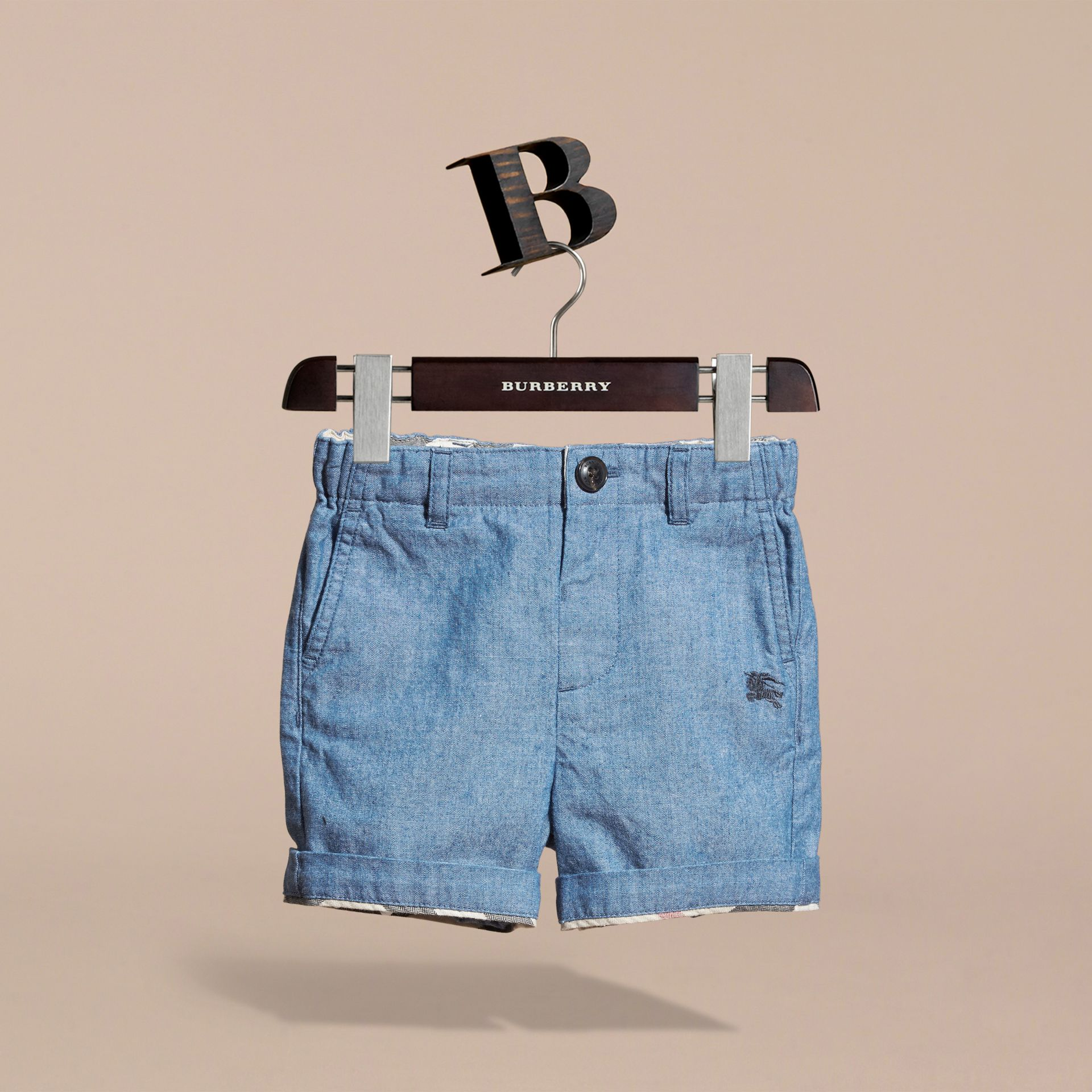 Cotton Chambray Shorts in Stone Blue | Burberry - gallery image 3