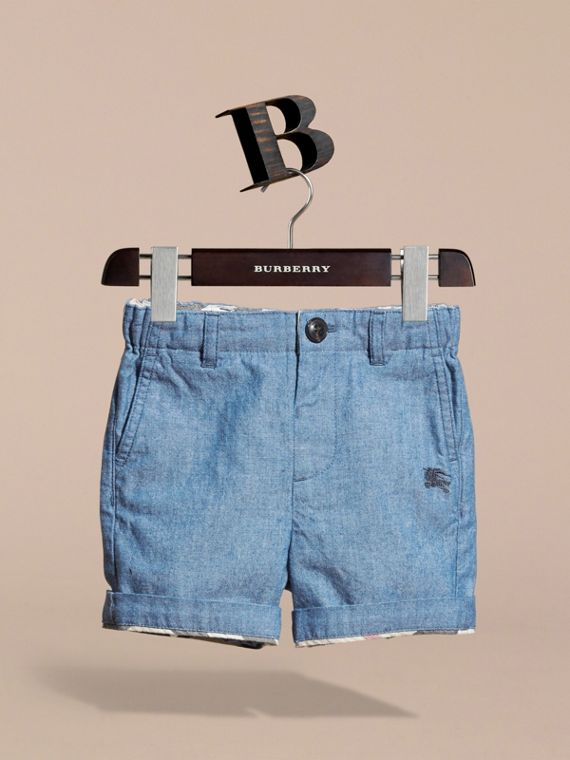 Cotton Chambray Shorts in Stone Blue | Burberry - cell image 2