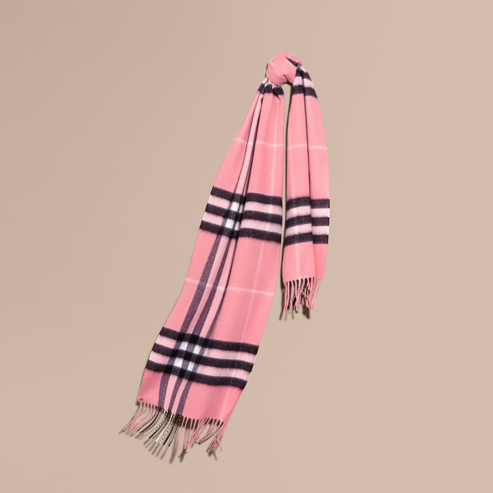 The Classic Cashmere Scarf in Check  Rose Pink - gallery image 6