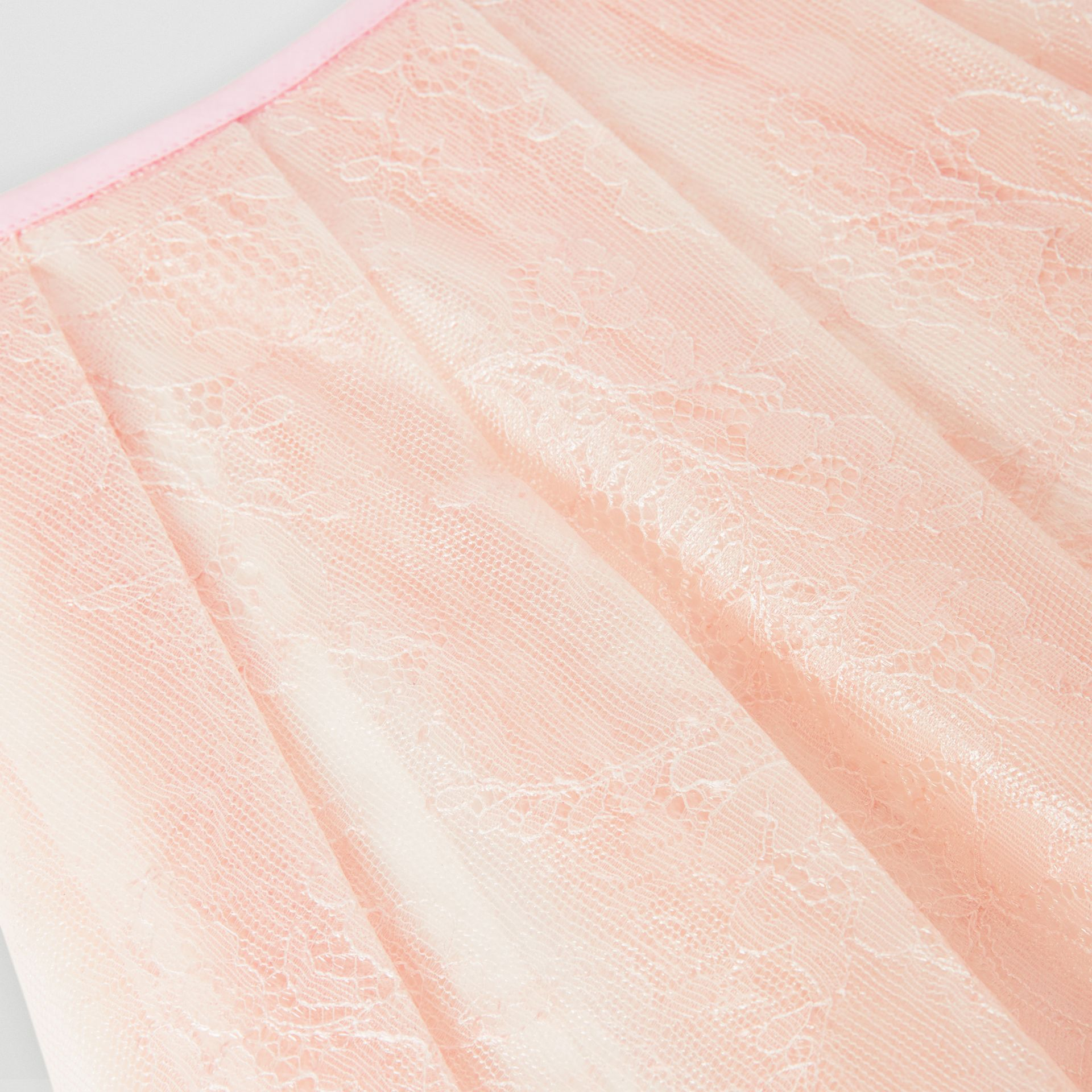 Pleated Laminated Lace Skirt in Pale Pink | Burberry - gallery image 1