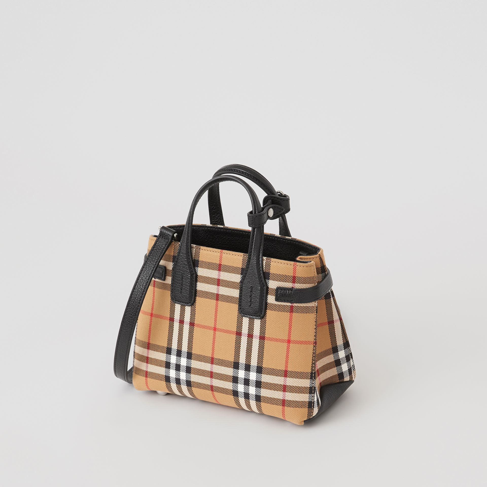 The Baby Banner in pelle con motivo Vintage check (Nero) - Donna | Burberry - immagine della galleria 2
