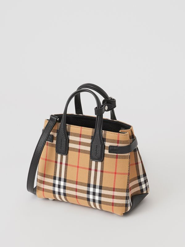 The Baby Banner in Vintage Check and Leather in Black - Women | Burberry - cell image 2