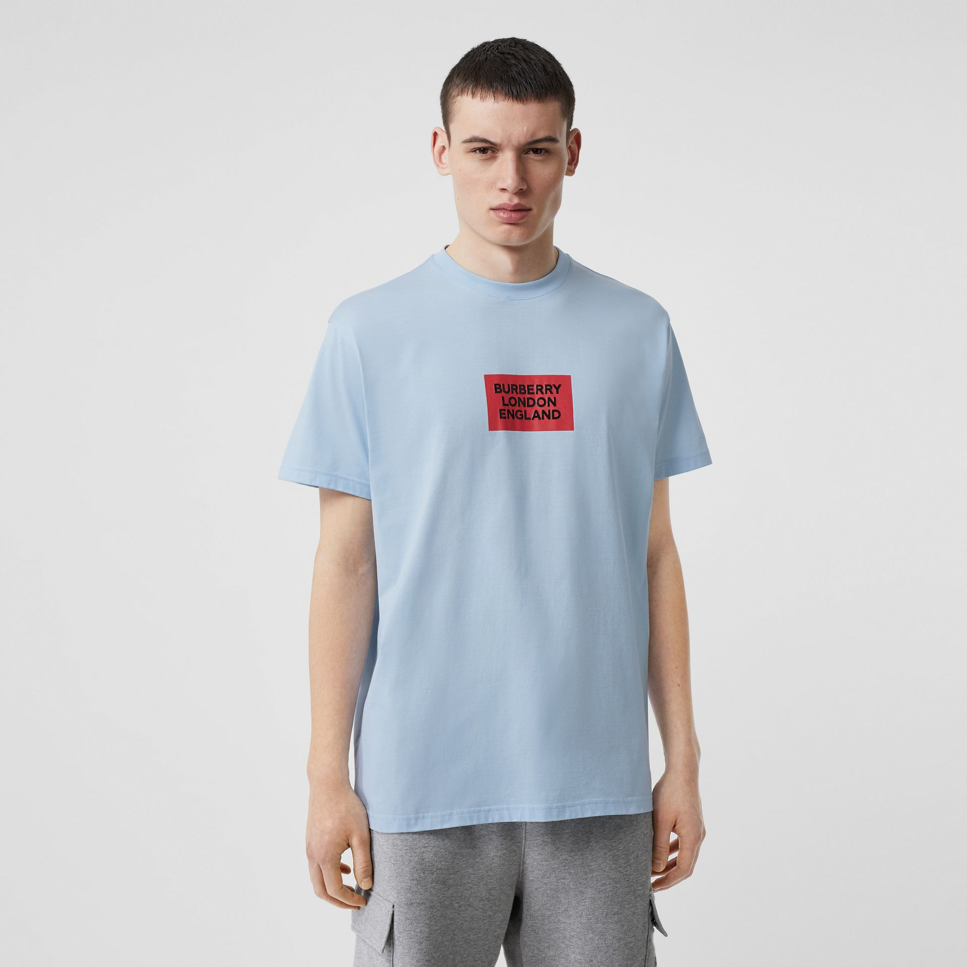 Logo Print Cotton Oversized T-shirt in Pale Blue - Men | Burberry - gallery image 0