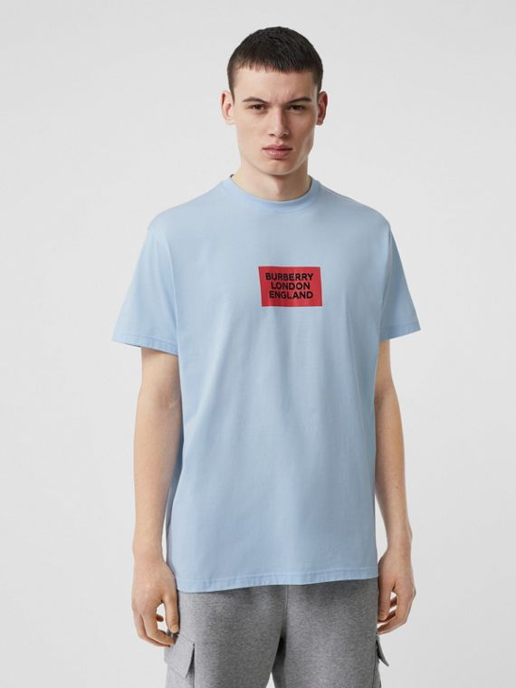 Logo Print Cotton Oversized T-shirt in Pale Blue