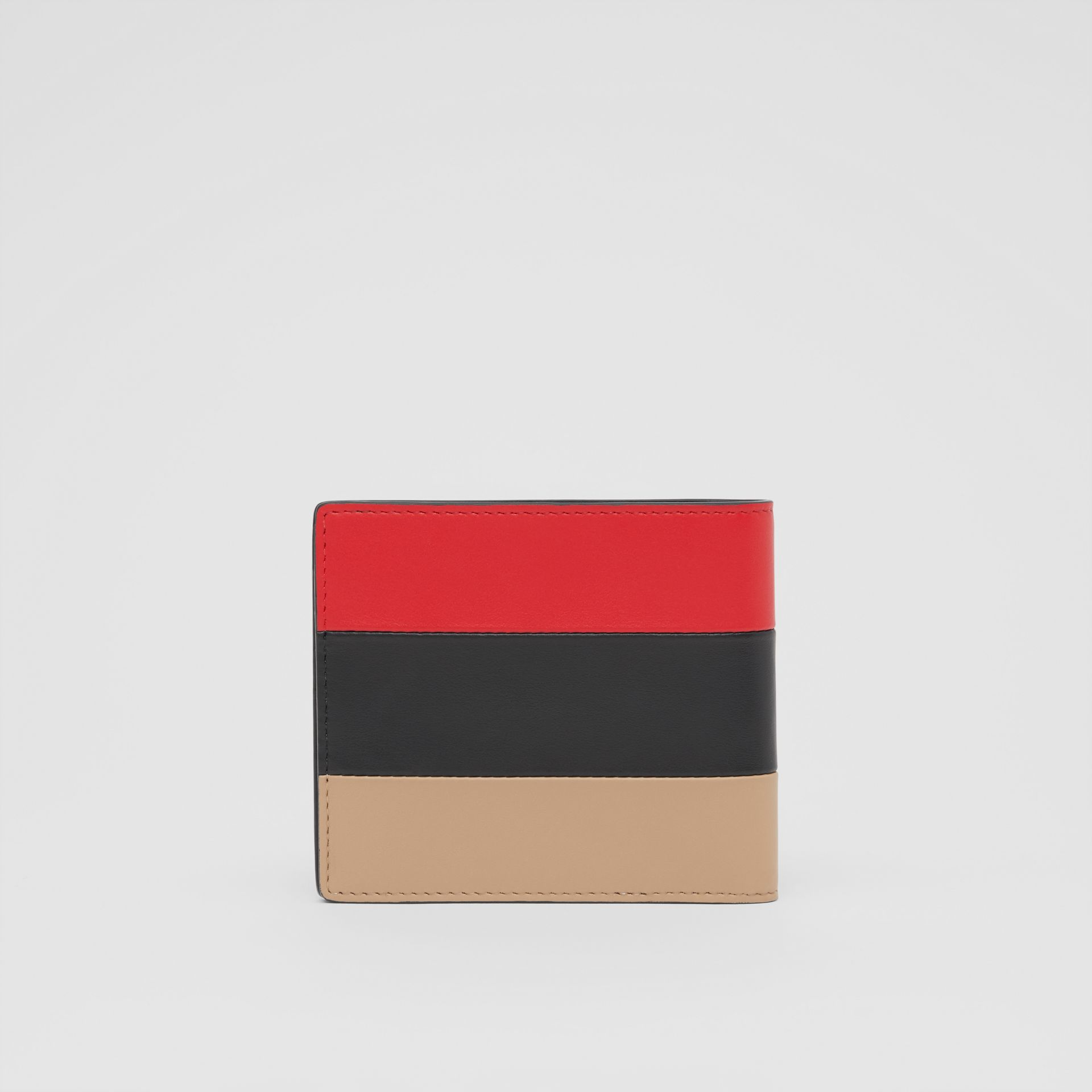 Colour Block Leather International Bifold Wallet in Red/black/beige - Men | Burberry - gallery image 4