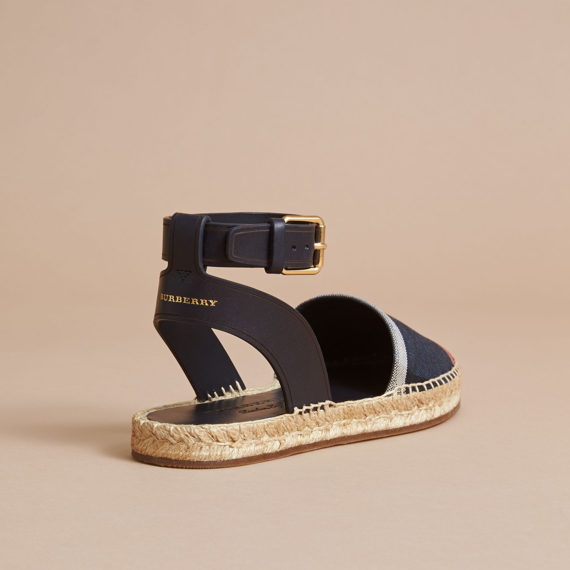 Leather and Check Linen Cotton Espadrille Sandals in Navy - Women | Burberry United Kingdom - gallery image 3