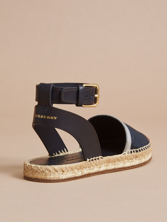 Leather and Check Linen Cotton Espadrille Sandals in Navy - Women | Burberry - cell image 3