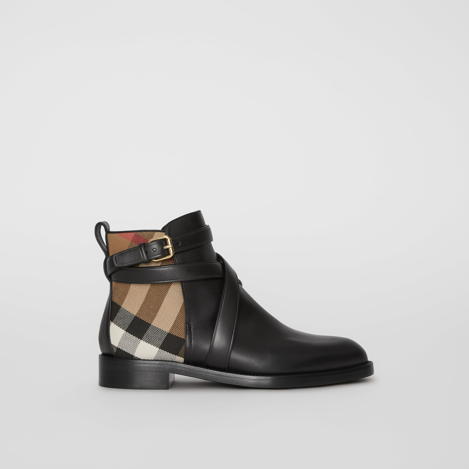 House Check and Leather Ankle Boots in Black - Women | Burberry Australia - gallery image 5