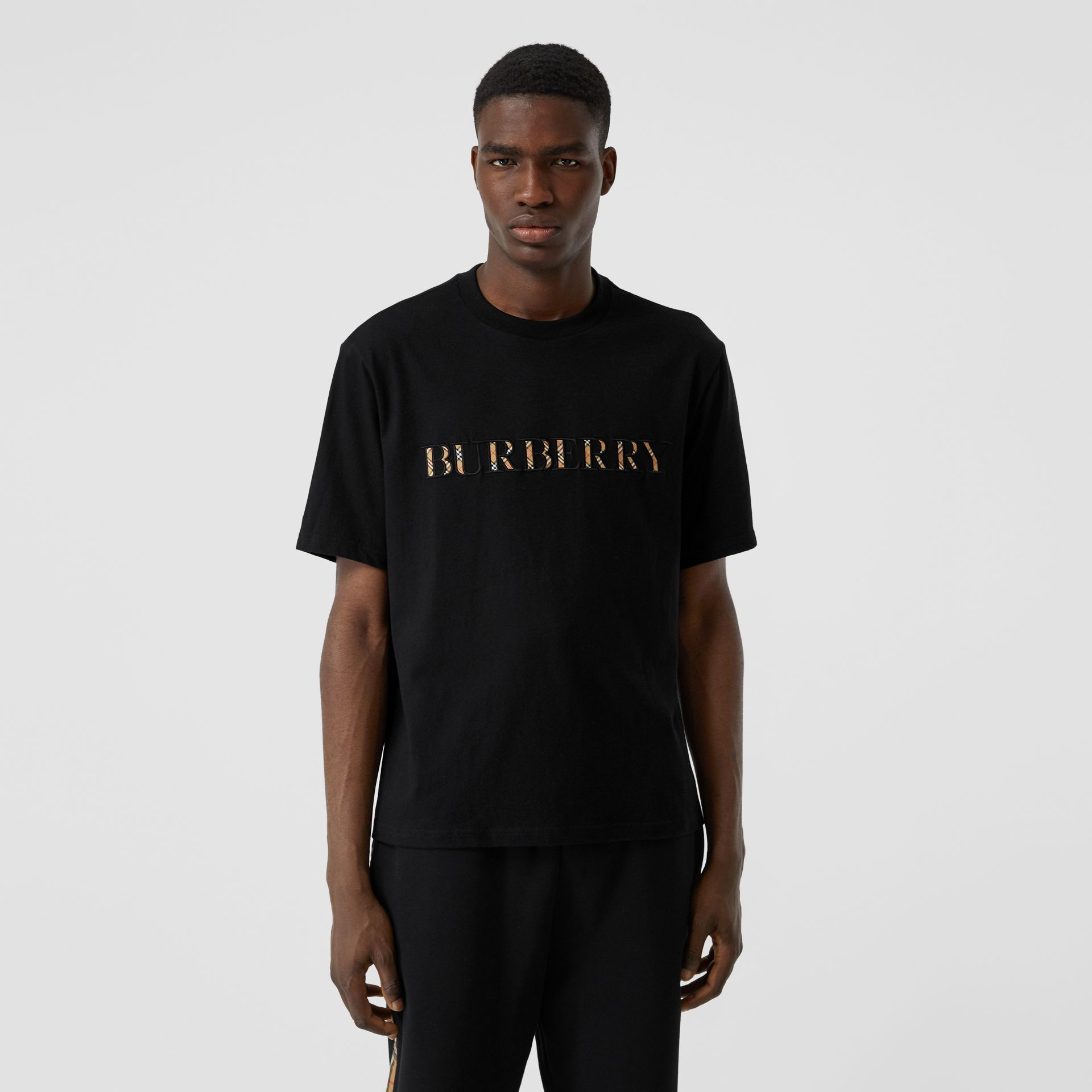Embroidered Check Logo Cotton T-shirt in Black - Men | Burberry - gallery image 4
