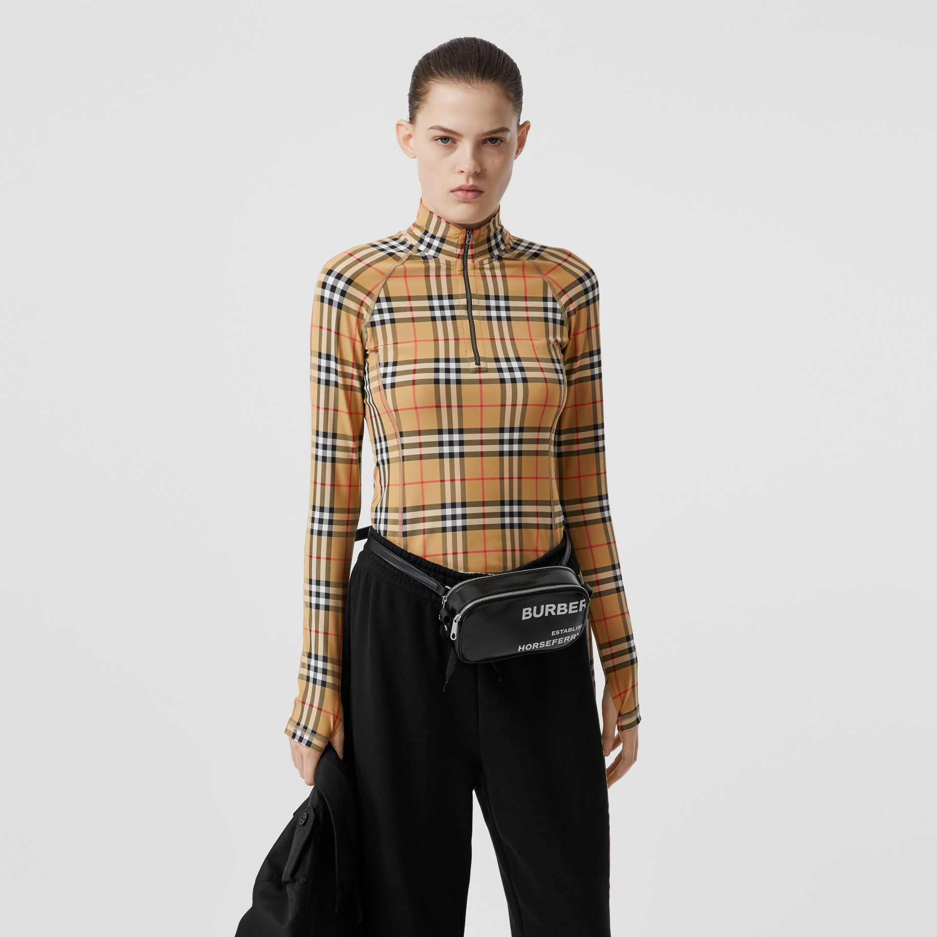 Vintage Check Stretch Jersey Turtleneck Top in Archive Beige - Women | Burberry - gallery image 0