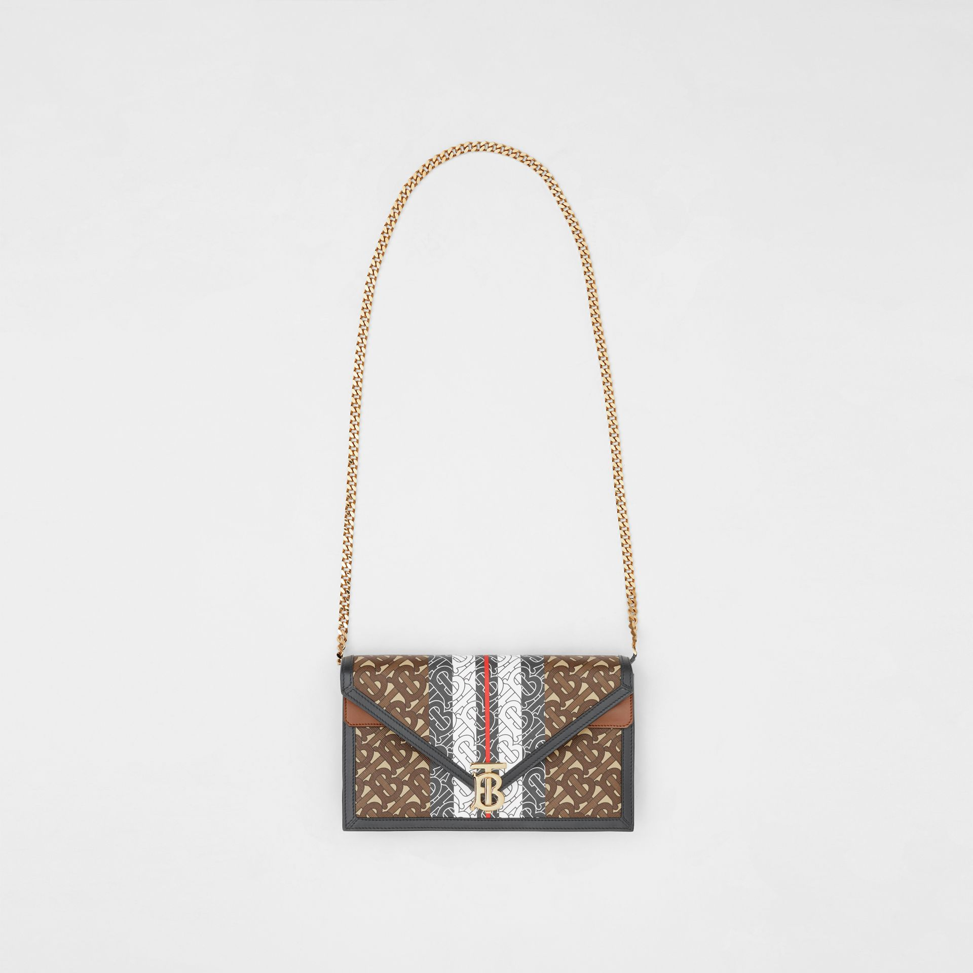 Small Monogram Stripe E-canvas TB Envelope Clutch in Bridle Brown - Women | Burberry - gallery image 3