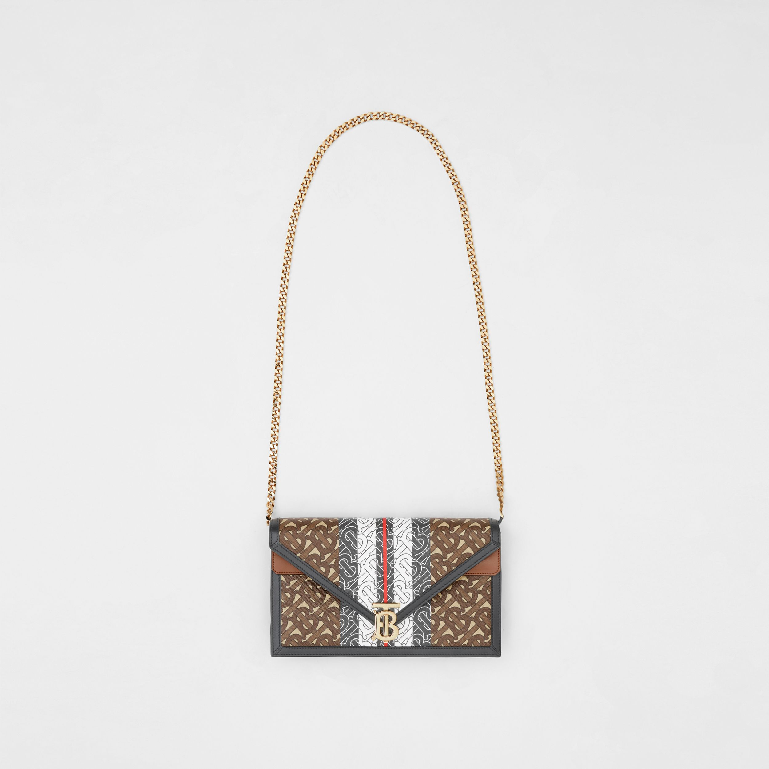 Small Monogram Stripe E-canvas TB Envelope Clutch in Bridle Brown - Women | Burberry - 4