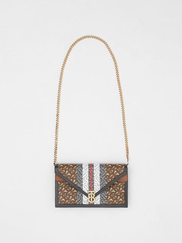 Small Monogram Stripe E-canvas TB Envelope Clutch in Bridle Brown - Women | Burberry - cell image 3