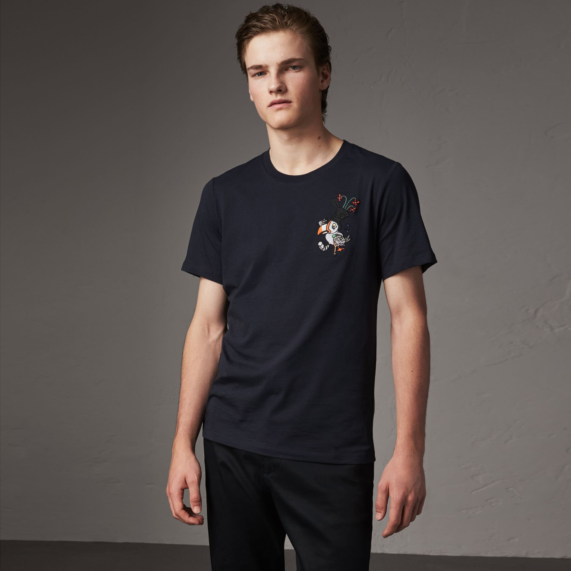 Sketch Appliqué Cotton T-shirt in Navy - Men | Burberry - gallery image 0