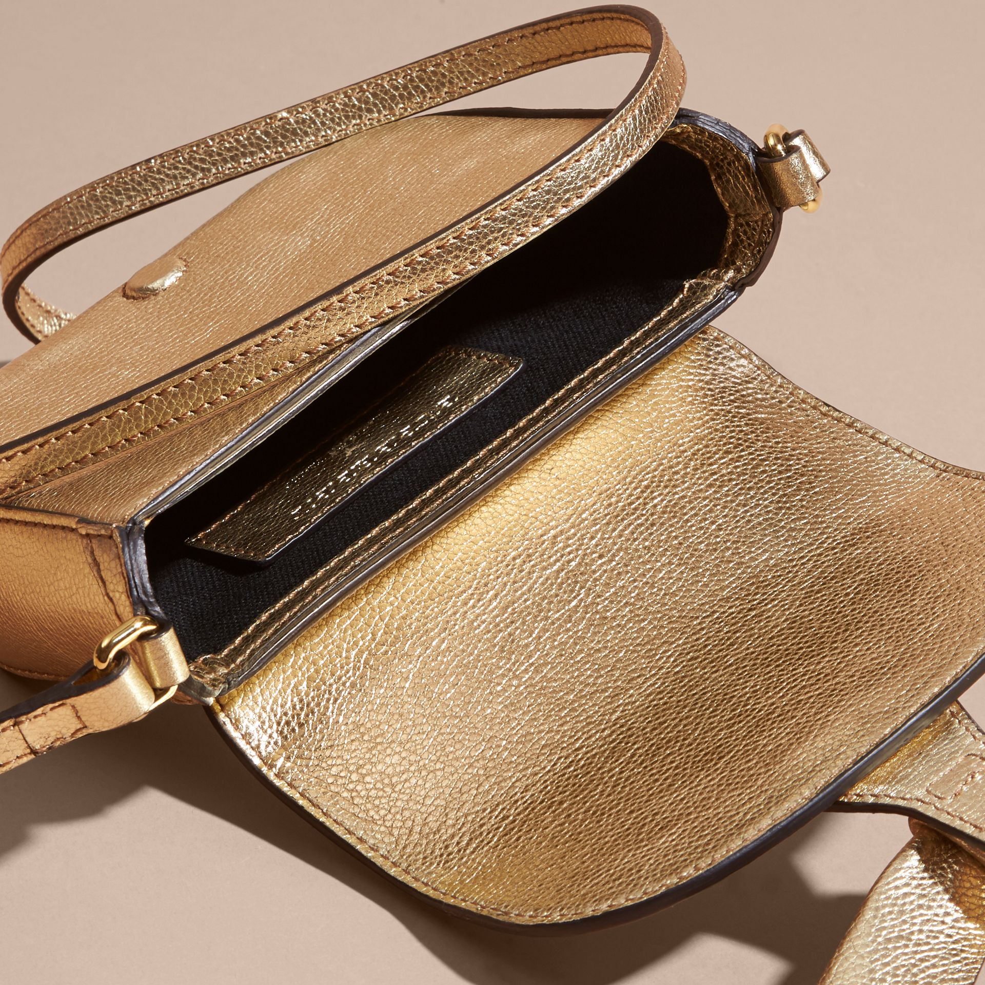 Gold Metallic Leather Crossbody Bag - gallery image 4