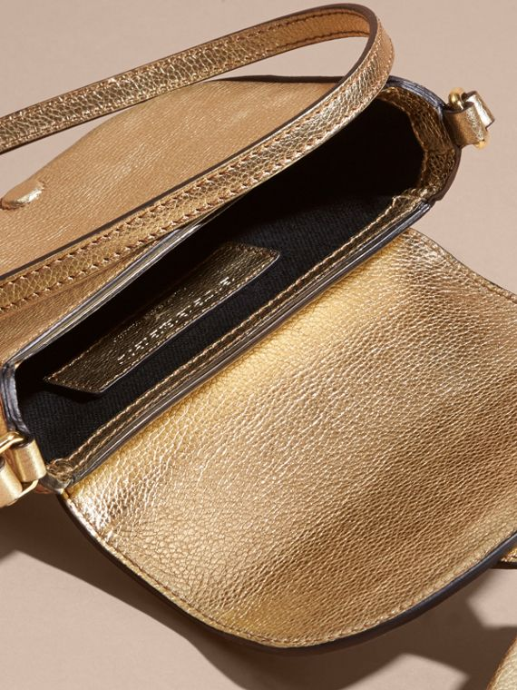Gold Metallic Leather Crossbody Bag - cell image 3